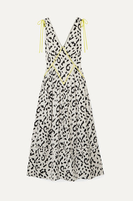 Self-Portrait Self Portrait Embroidered Leopard-print Satin-jacquard Midi Dress - Cream