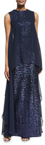Talbot Runhof Sleeveless Sequined Overlay Gown, Midnight
