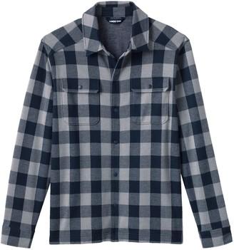 Lands' End Men's Plaid Brushed Jacquard Shirt Jacket