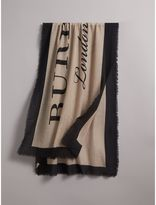 Burberry Graphic Print Motif Lightweight Cashmere Scarf, Brown