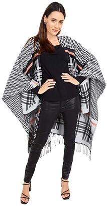 San Diego Hat Company Pullover Fuzzy Yarn Striped Poncho (Black) Scarves