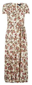 Dorothy Perkins Womens **Tall Ivory Floral Print Ruffle Midi Dress, Ivory