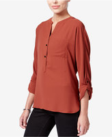 Bar III High-Low Tab-Sleeve Blouse, Only at Macy's