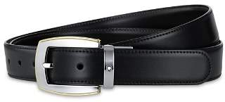 Montblanc Shiny Palladium and Gold-Coated Reversible Leather Belt