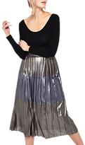 Miss Selfridge Metallic Stripe Midi Skirt, Silver