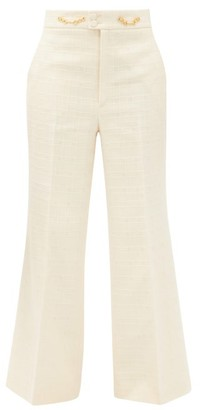 Gucci Flared High-rise Cotton-blend Tweed Trousers - Ivory