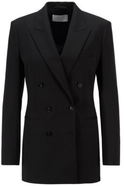 HUGO BOSS Double Breasted Regular Fit Jacket In Italian Stretch Wool - Black