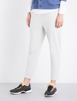 Brunello Cucinelli Striped-waistband tapered cropped stretch-jersey jogging bottoms