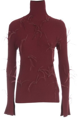 Marques Almeida MarquesAlmeida Light Weight Feather Turtleneck Jumper With Flared Sleeves