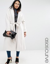 Asos Midi Swing Trapeze Coat with Belt Tie