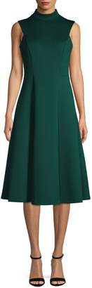 Calvin Klein Mock Neck Fit--Flare Midi Dress