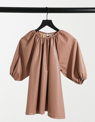ASOS DESIGN trapeze smock top in leather look in sand