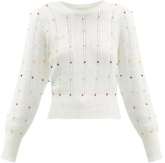 JoosTricot Beaded Cable-knit Cotton-blend Sweater - White