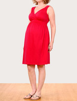 Sleeveless smocked waist maternity dress