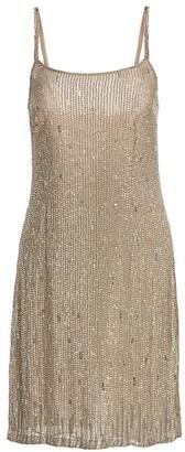BURNETT NEW YORK Sleeveless Jewelled Silk Cocktail Slip Dress