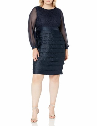 London Times Women's Plus Size Long Shimmer Shutter with Sheer Sleeve