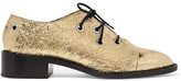 Proenza Schouler Metallic Crinkled-leather Brogues - Gold