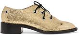 Proenza Schouler Metallic Crinkled-leather Brogues - Gold