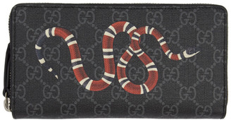 Gucci Black GG Supreme Kingsnake Print Zip-Around Wallet