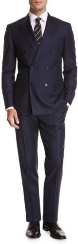 Canali Chevron Wool Double-Breasted Two-Piece Suit, Blue