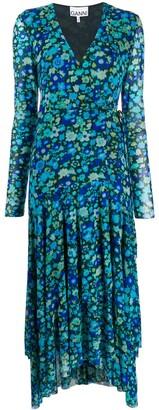 Ganni Floral Print Wrap Dress
