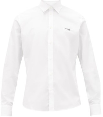 Givenchy Floral-embroidery Cotton-poplin Shirt - Mens - White