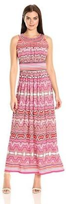 Sandra Darren Women's 1 Pc Sleeveless Maxi Printed Ity Dress