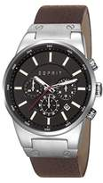 Esprit Equalizer Outdoor Men's Quartz Watch with Black Dial Chronograph Display and Brown Leather Strap ES107961004