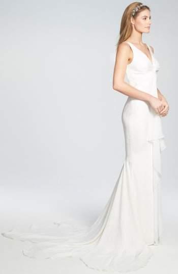 Katie May Women's 'Mykonos' Twist Front Crepe De Chine Mermaid Gown