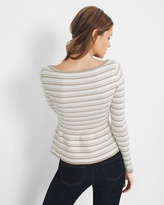 White House Black Market Petite Metallic-Stripe Peplum Sweater