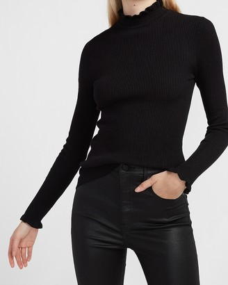Express Ribbed Ruffle Mock Neck Sweater