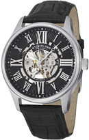 Stuhrling Original Original Mens Black Leather Strap Skeleton Watch 7329.02