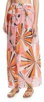 Emilio Pucci Parasol Silk Maxi Coverup Skirt, Rosa/Arancio/Limo