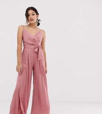 Miss Selfridge wrap jumpsuit in pink