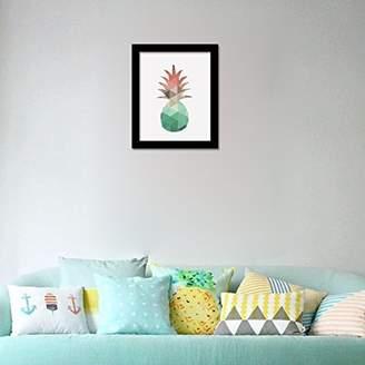 Camilla And Marc WALPLUS Com-CP027M Pineapple Art Canvas Printing with FR030 Black Photo Frame, Vinyl, Multi-Colour, 40 x 30 x 2 cm