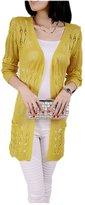 ARJOSA Women's Fashion Pockets Crochet Cable Knit Open Front Cardigan Sweater Knitwear Coat Jacket ( Yellow)