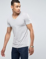 Asos Muscle Fit T-Shirt With V Neck In Gray