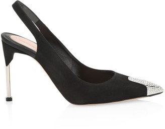 Alexander McQueen Crystal Point-Toe Leather Slingback Pumps