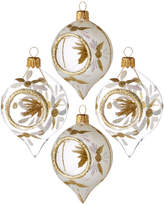 Kurt Adler Glass Gold Glitter Ornament 4Pc Set