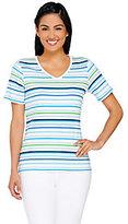 As Is Liz Claiborne New York Striped V-neck T-shirt