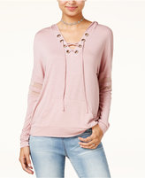 Hippie Rose Juniors' Lace-Up Hoodie