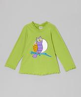 Flap Happy Green Mod Owl Lettuce-Edge Tee - Infant, Toddler & Girls