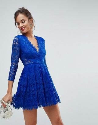 Asos Design ASOS Long Sleeve Lace Mini Prom Dress