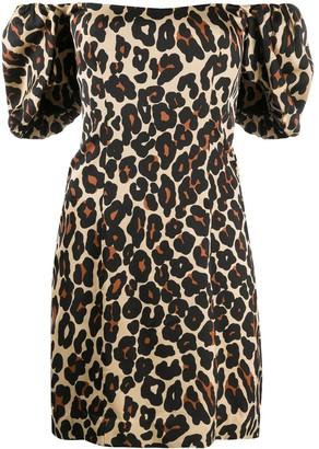 De La Vali Leopard Print Mini Dress