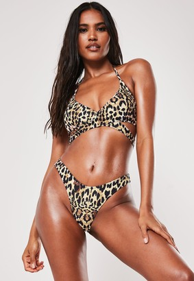 Missguided Brown Leopard Print Mix And Match Cross Front Bikini Top