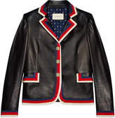 Gucci Embroidered leather jacket