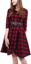 Wellwits Women's Wrap 3/4 Sleeves Vintage Plaid Dress with Belt 2XL