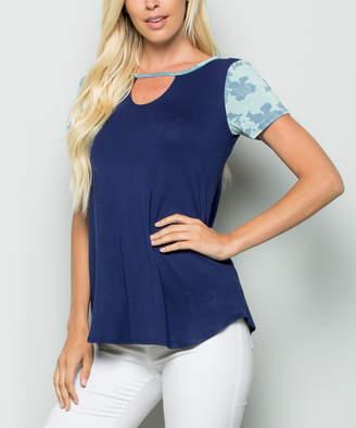 Celeste Women's Tee Shirts NAVY - Navy Floral-Accent Choker-Cutout Tee - Women & Plus