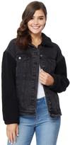 Juniors' Wallflower Over-sized Sherpa Denim Jacket