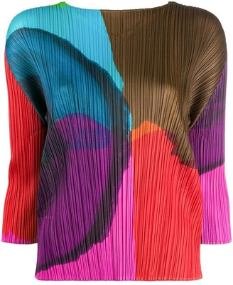 Pleats Please Issey Miyake Energetic print pleated blouse